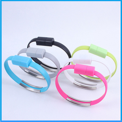 Mini Micro USB Bracelet Charger Data Charging Cable Sync Cord For Iphone Type-C and Anroid Phones black anroid ports