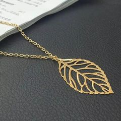 New Fashiion 1 Leaf Pendants Necklace Chain Necklaces Woman Fashion Accessories gold normal size
