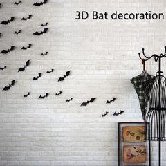 2020 New Year Decoration 12PCS Black 3D DIY PVC Bat Wall Sticker Decal Home Decoration black 12PCS Mixed Sizes