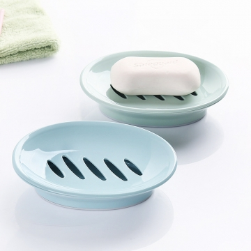 2-pack Bathroom Soap Dish with Drain,  Easy Cleaning, Blue Blue one size