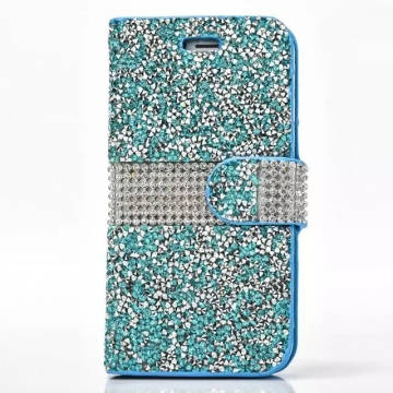 (Blue in Stcok) Valentines Gift Women Men Beading Wallet Phone Cases Stand Covers for iphone 7 plus blue 7+