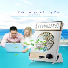 Multi-functional Solar Cooling Fan with  Eye-Care LED Table Lamp Flashlight Golden 21.5x15x7 2
