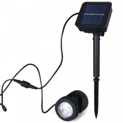 Outdoor Waterproof 6 LEDs Solar Spotlight Lawn for Multi Directional Lighting black 1w