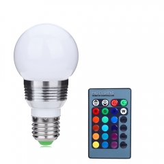 E27 LED Bulb 500Lm 16 Colors Changing Dimmable RGB Light with IR Remote white 6x5.5x10 5w