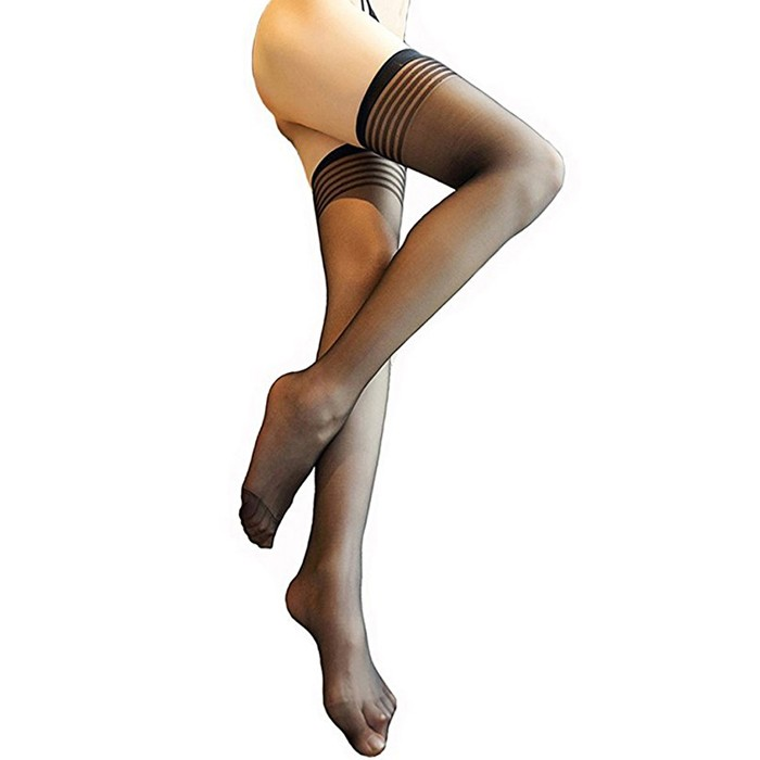 Usexy women Ultra Thin Stockings Thigh High Striped Women Breathable Female Long Women's Stockings black f