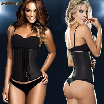 Usexy top Body Shaper Steel Bone Latex Waist Trainer Block Patchwork Slim Waist Rubber Women Corset black l-xl