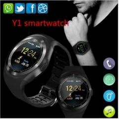 Y1 Smartwatch Bluetooth Smart Watch Reloj Relogio 2G GSM SIM App Sync Mp3 black one size