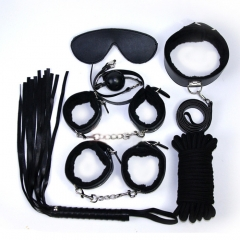 Sex Toys 7 Items Cotton Rope Handcuffs Collar String Mouth Ceppi Whip Suit Offbeat Bondage Toys black one size