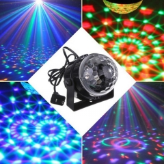 3W RGB LED Crystal Magic Ball Stage Effect Light Disco Xmas Christmas Party Club DJ Bar as shown one size
