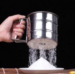 Stainless Steel Mesh Flour Sifter Baking Icing Sugar Sieve Tool Cup Shape as shown one size