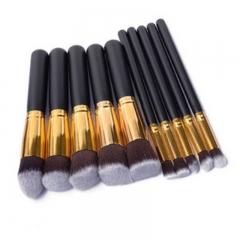 10pcs/set Wood Portable Brushes Foundation Makeup Set as picture shown