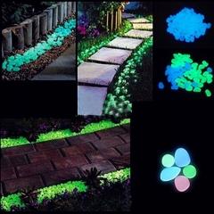 Garden Ornaments 100PCS Glow in the Dark Luminous Pebbles Stones Fish Tank Aquarium