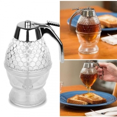 200ML Honey Dispenser Jar Container Cup Portable Acrylic Honey Squeeze Storage Pot Juice Bee white one size