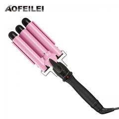 110-220v Hair Curling Iron Ceramic Triple Barrel Hair Curler Deep Pearl Waving Curly Styling Tool pink 19mm