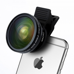 Professional HD Phone Camera Lens Kit 0.45X Wide Angle+12.5X Macro Clip-on Fish Eye for Smartphone as shown one size