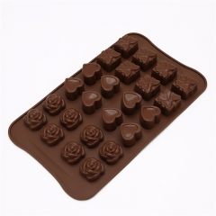 Cake Tools Kitchen Bakeware Handmade DIY 24 Rose Love Silicone Chocolate Mold Cake Decoration as shown one size