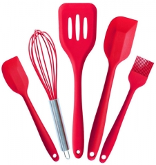 5PCS Kitchen Silicone Pastry Cooking Sets Cook Tools as shown one size