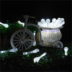 6m 30 LED Solar Christmas Lights 8 Modes Waterproof Water Drop Solar Fairy String Lights white one size