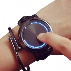 leather waterproof Touch screen LED watch men and women lovers watch smart electronics watches black