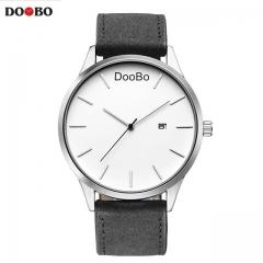DOOBO Fashion Casual Mens Watches Leather Business Quartz Watch Men Wristwatch black+white one size