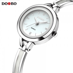 DOOBO Bracelet Watches for Lady Fashion Dress Gold Charming Chain Style Jewelry Cloc silvery