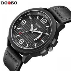 DOOBO Casual mens watches Leather Men Military Wrist Watch Men Sports Quartz-Watch black one size
