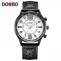 DOOBO Sports Watch Men Military Leather Quartz-watch Waterproof Male Clock black+white one size