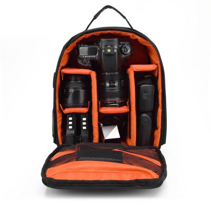 P1 Waterproof Digital DSLR Photo Padded Backpack w/ Rain Cover Multi-functional SLR Camera Soft Bag Orange one size