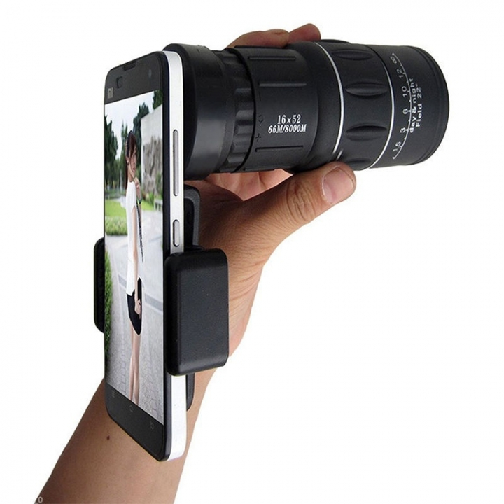 16x52 Zoom Dual Focus Monocular Telescope Lens Camera HD Scope+ Phone Holder  (Color: Black) as shown one size