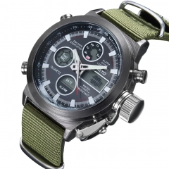 Quartz Digital Sports Watches Men Leather Nylon LED Military Army Men's Watch black one size