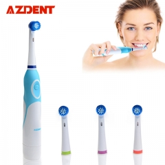 Rotating Electric Toothbrush Battery Operated with 4 Brush Heads as shown
