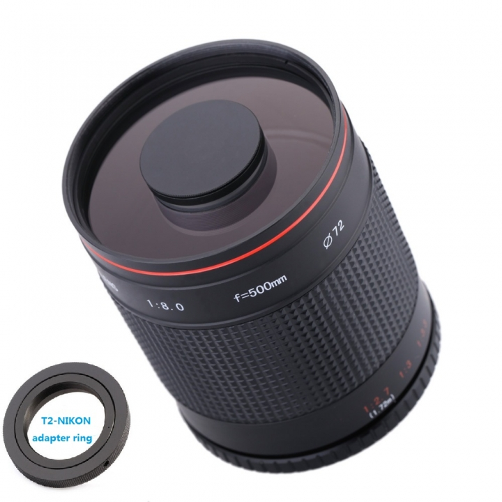 500mm F8.0 Telephoto Mirror Lens with T2-AI Adapter Ring for Nikon Camera as shown for cannon