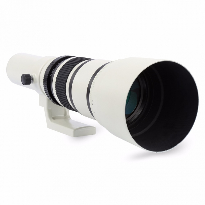 Lightdow White 500mm F/6.3 Telephoto Fixed Prime Telephoto Lens+T2 Lens Adapter Ring as shown for cannon