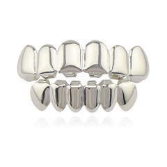 Hip Hop Gold Teeth Grillz Top & Bottom Grills Dental Mouth Punk Teeth Caps Cosplay Party silver one size