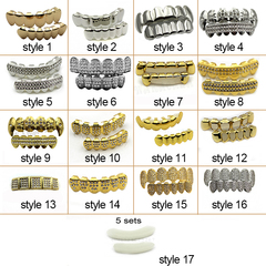 Hip Hop Gold Teeth Grillz Top & Bottom Grills Dental Mouth Punk Teeth Caps Cosplay Party black one size