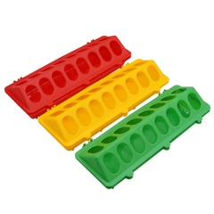 10 pcs Poultry Bird Pigeon Trough Feeding Supplies 16 Round Holes On Both Sides  Color random as shown
