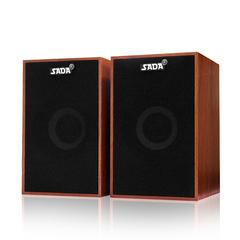 Speakers Bass Stereo Wooden PC Speaker Soundbar 3.5mm  for Laptop Desktop Phones as shown one size