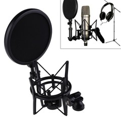 Microphone Mic Shock Mount with Shield Head Telescoping Height Holder Stand Bracket as shown