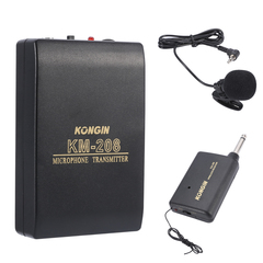 Wireless FM Transmitter Receiver KM-208 Lapel Clip On Microphone Mic System Set for Wedding Meeting as shown one size one size