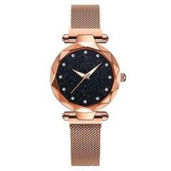 Magnetic Starry Sky Clock Fashion Diamond Female Quartz Wristwatches gold one size