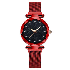 Magnetic Starry Sky Clock Fashion Diamond Female Quartz Wristwatches red one size