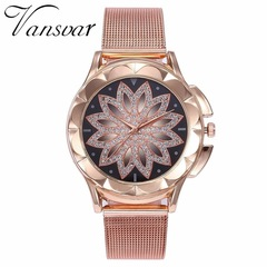 Fashion Women Rose Gold Flower Rhinestone Wrist Watches Casual Female Quartz Watch rose gold one size