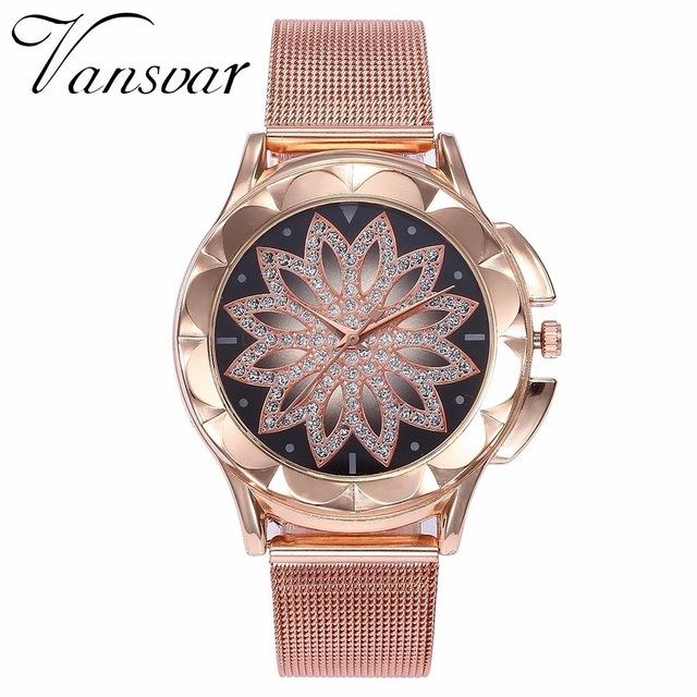 Fashion Women Rose Gold Flower Rhinestone Wrist Watches Casual Female Quartz Watch rose gold one size