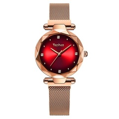 Rose Gold Women Watches Fashion Diamond Ladies Starry Sky  Watch Waterproof Female Wristwatch red one size