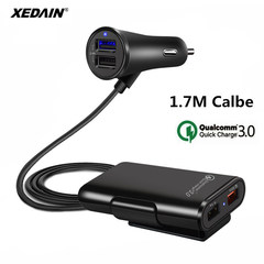 Quick QC3.0 Car Charger 2.4A+3.1A 4 USB Port with 5.6ft Extension Cord Cable for Back Seat Charge as shown