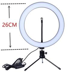 Photography LED Selfie Ring Light 20CM Dimmable With Table Tripods 26cm