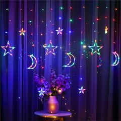 Moon Star Curtain Lights LED String Lights Lights Indoor for Holiday Wedding Party 7 colour one size as shown