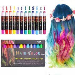 12 Color Hair Chalk Pens Crayon Salon Washable Temporary Hair Color Dye Kit Safe 如图所示 As shown one set