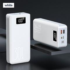 30000mAh Power Bank LED Digital Display Dual USB Fast Charging Power Bank External Battery White 30000mAh