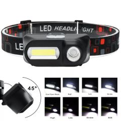 Portable Mini XPE+COB LED Headlamp USB Rechargeable Camping Running Flashlight Headlight Torch as picture shown one size